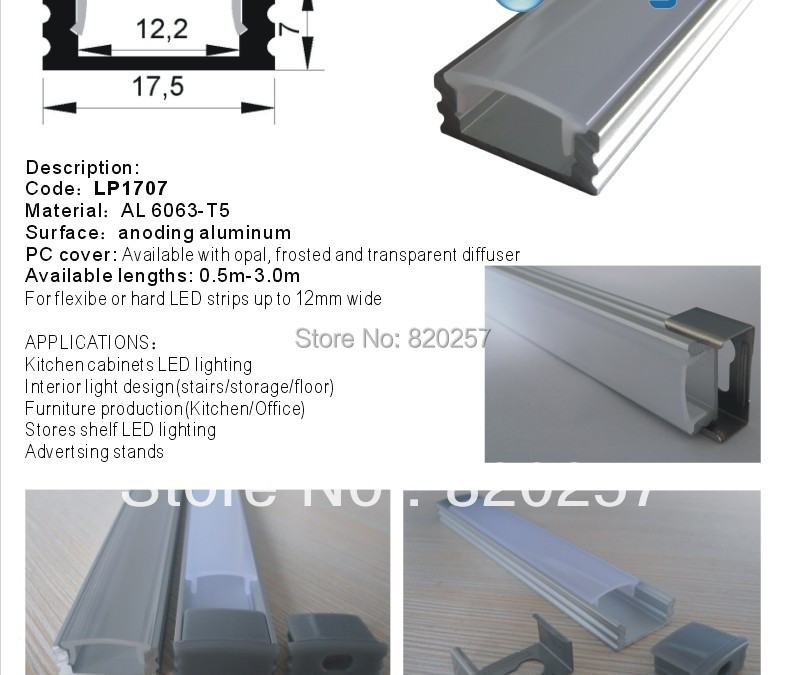 DHL/FEDEX /EMS Free shipping 10pcs/lot 1m LED profile housing 17**07*1000MM with PC cover and end cap<br><br>Aliexpress