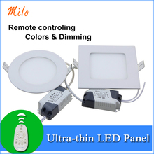 Remote controling emitting colors and dimming LED panel light , 6W 12W 18W 24W,ultra-thin design,Aluminum die-casting LED lamp(China (Mainland))