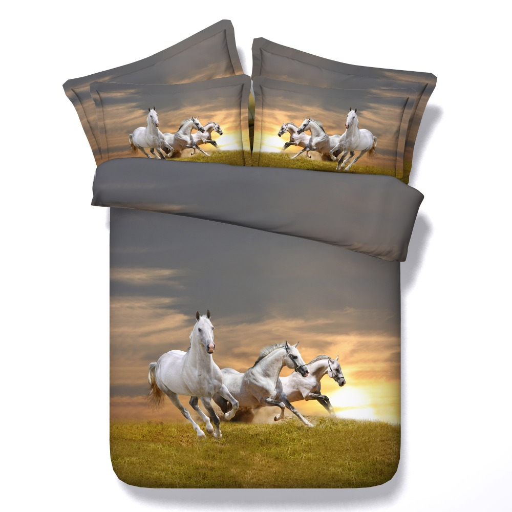 horse print sheets promotion shop for promotional horse print hot 3d print bedspreads bedding sets quilt duvet covers bedclothes sheets twin full queen king size woven white galloping horses