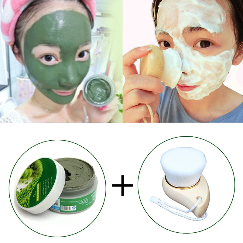 Skin Care Facial Mask Mung Bean Face Mask for Shrink Pore & AcneTreatment & Oil-control & Blackhead Remover with Clean Brush(China (Mainland))