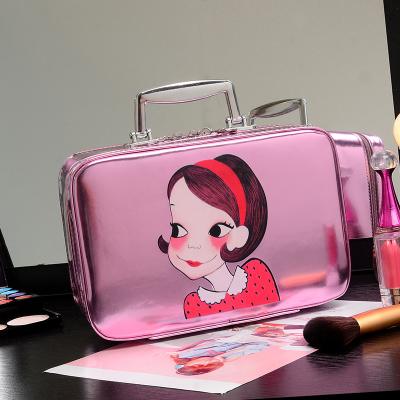 brand PU Leather Cosmetics Bag Large Capacity cartoon printing Pattern Storage Box  Makeup Women Ladies Cosmetic Vanity Case<br><br>Aliexpress