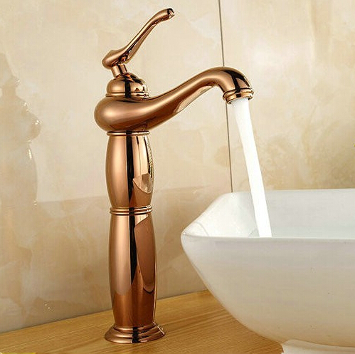 "13"" Free shipping Contemporary Bathroom Faucet Rose Gold Polished Brass Basin Sink Faucet Single Handle water taps BF-2498R(China (Mainland))"