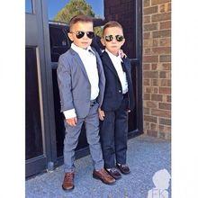 Maß Hochzeit Anzüge Für Jungen Smoking Anzug Jungen Formale Kleidung Schwarz Und Grau Ring Inhaberaktien Anzug(China (Mainland))