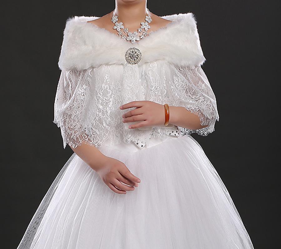 New style white prom dress shrug bridal faux fur lace for Fur shrug for wedding dress