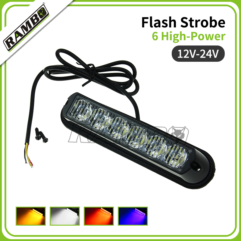 12-24V Super Bright Front Bumper Grille 6 LED Warning Strobe Flash Light Black Base(China (Mainland))