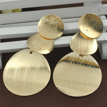 Europe and America Exaggerate Metal Big Round 18K Gold Leaf Earrings Irregular Drawling Earrings For Women(China (Mainland))