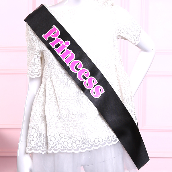Love princess sash Black white pink promp queen wraps novelty accessories lady band party favor events supplies 2015 new design(China (Mainland))