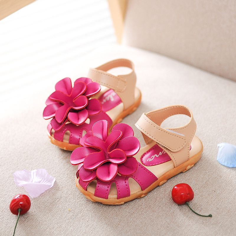 J.G Chen Baby Girl Shoes Summer Sandals Soft PU Leather Anti-slip Girls Shoes Princess Sweet Flowers Kids Children Beach Shoes(China (Mainland))