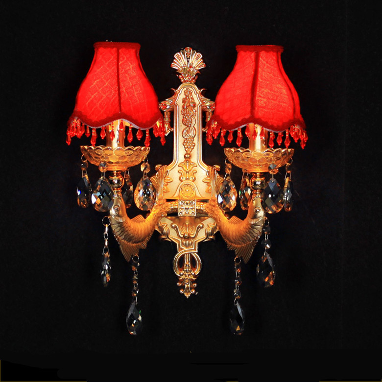 Фотография Denmark 2 arms crystal wall lamps with Red fabric lampshades wedding Bar  wall sconce bedroom hotel project  Led  wall lights