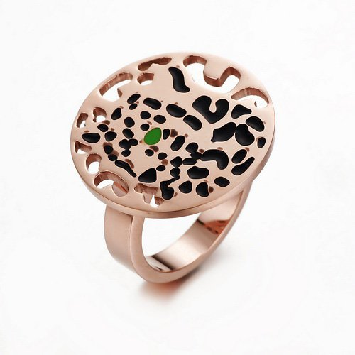 New Listing Cool Designer The Leopard Rings,18K Rose Gold Plated Ring Set With One Tsavorite Garnet Eye And Black Lacquer Spots(China (Mainland))