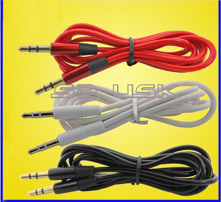 1.2m audio 3.5 jack to 3.5 jack cable male to male 3.5mm headphone extension cable red white black for Aux in(China (Mainland))