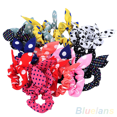 10Pcs Rabbit Ear Hair Tie Bands Accessories Japan Korean Style Ponytail Holder 2MOC(China (Mainland))