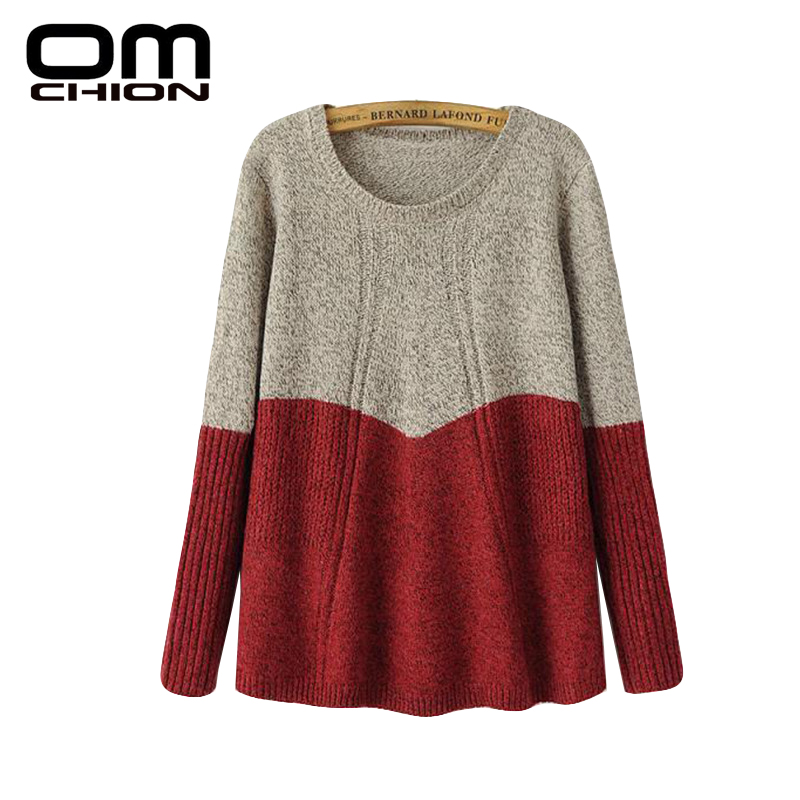 2016 Autumn Winter New Loose Sweaters Color Patchwork Long Sleeve Pullovers Women Shrugs A-Line Oversize Sueter Mujer LMY39(China (Mainland))