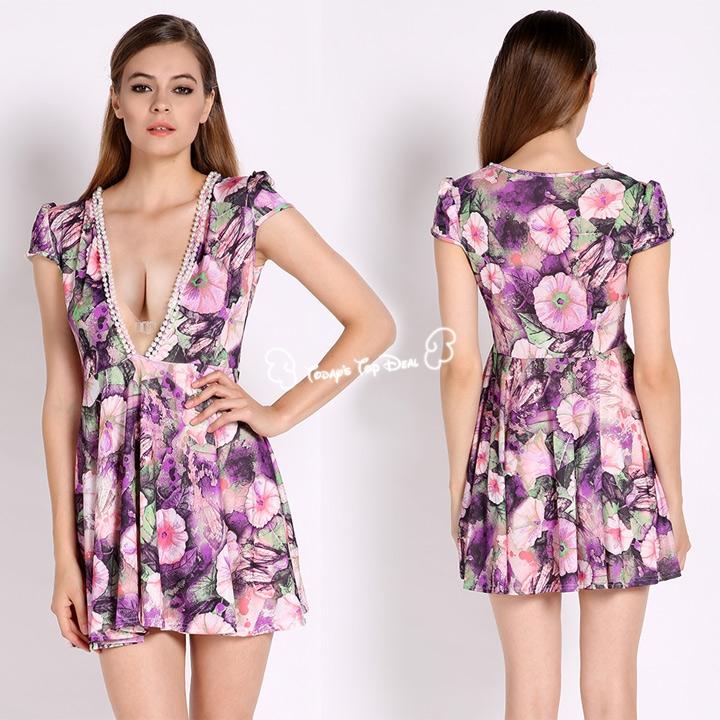 product Hot Sael 2016 New Sexy Women Summer Dress Print Flower Short Sleeve Deep V-neck Evening Beading Party Mini Dresses b4