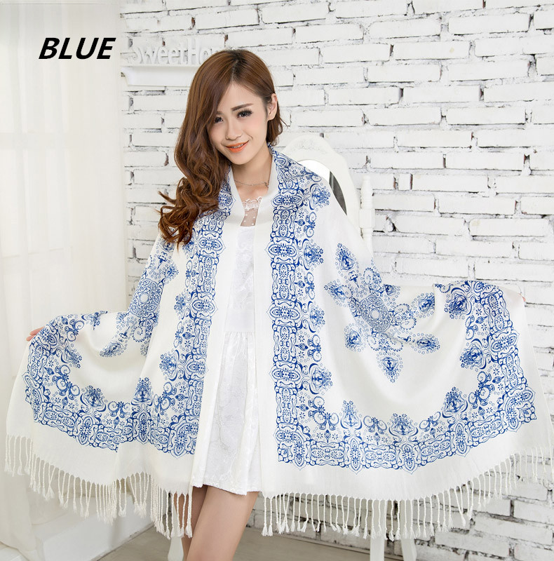 New 2015 women design winter scarf wool Shawls And Scarves Fashion Classical Porcelain Pattern Scarf Pashmina Free Shipping(China (Mainland))