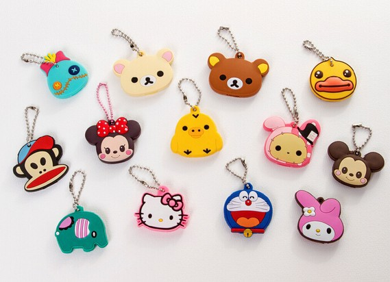 Kawaii Animal Silicon Key Caps Covers Keys Keychain Case Shell Novelty Item,Christmas Gift(China (Mainland))