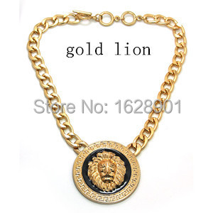 free shipping new fashion hot sale gold silver lion necklace metal chain necklace lion head necklace wholesale(China (Mainland))