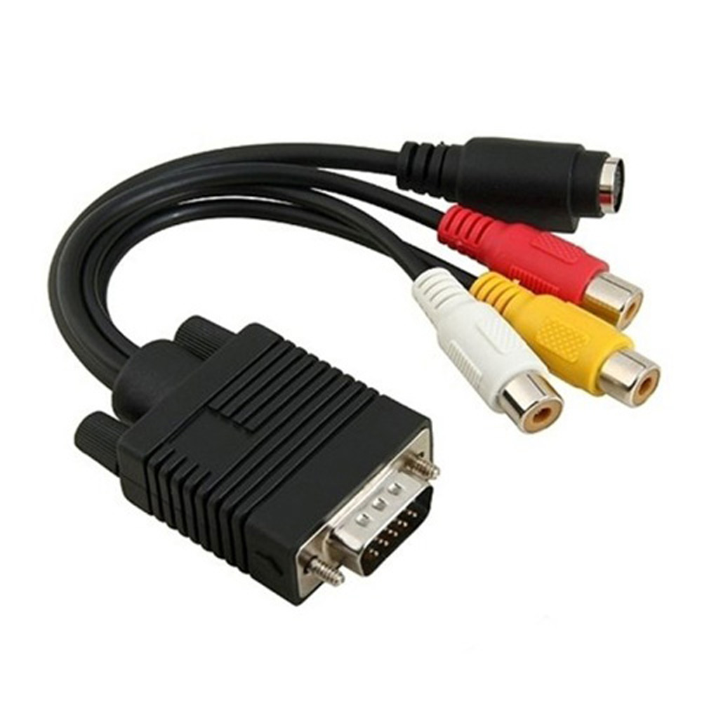 VGA Adapter to TV S-Video and RCA Out Converters Cable for PC Video(China (Mainland))