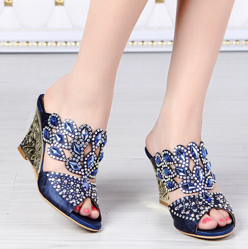 sexy 2015 women summer wedge sandals rhinestones stud floral shoes gladiator platform heels party club shoes woman large L014<br><br>Aliexpress