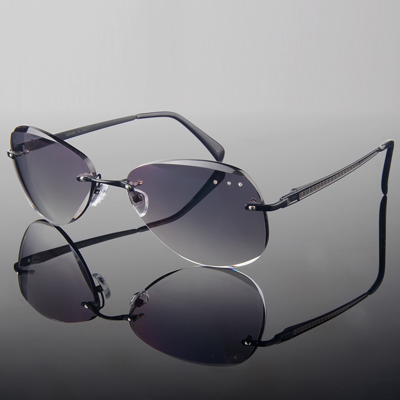 2015 Luxury style Diamond trimming rimless fashion men's finished prescription glasses with Rhinestones Trimmed Cutting Frame(China (Mainland))