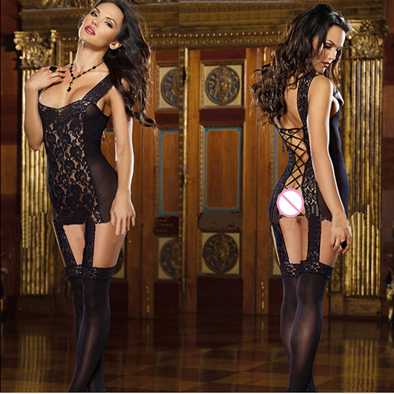 Sexy Women Erotic Lingerie Body Doll Black Lace Sex Costumes For Women Lady Sexy Lingerie Hot Dress Sleepwear Underwear SW364(China (Mainland))