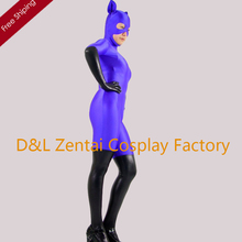 Free Shipping DHL Adult Sexy Purple And Black Cat Woman Spandex Superhero Zentai Catsuit Cosplay Halloween Costume B06