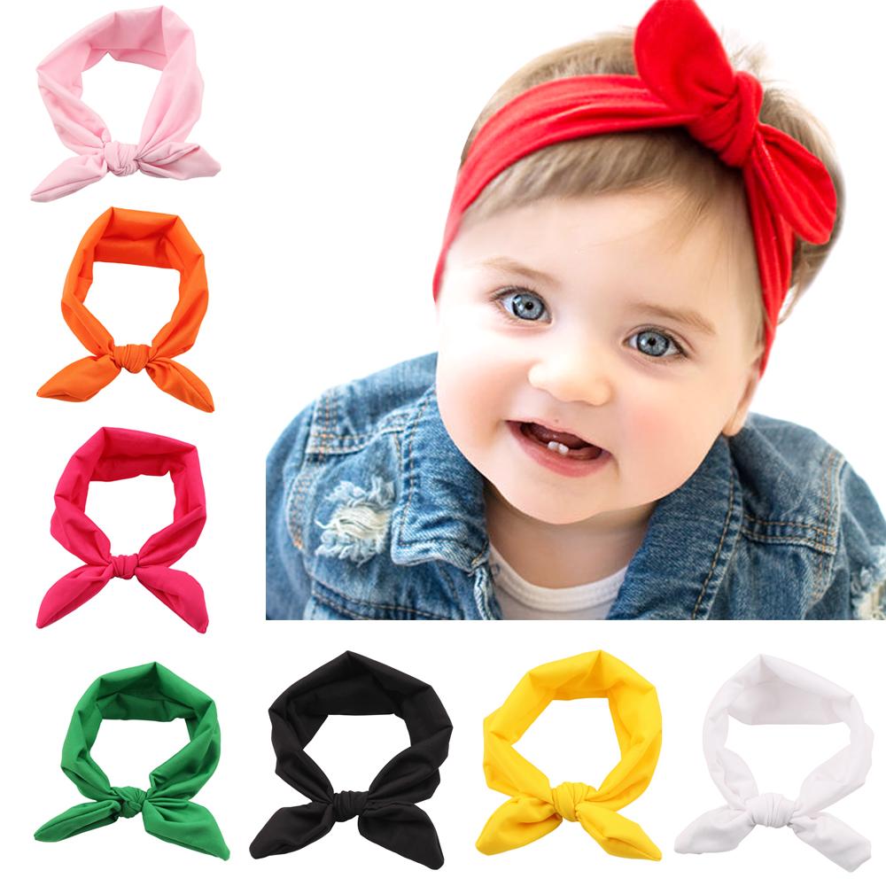 2017 New Baby Girl Solid Knot Headband Kids Cotton Turban Knitted Hair Accessories Children Cross Headwear for Children KT016(China (Mainland))
