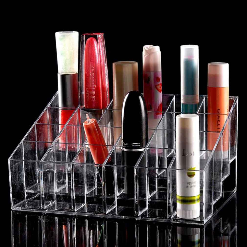 24 Trapezoid Clear Makeup Display Lipstick Stand Case Cosmetic Organizer Case Lipstick Holder Display Stand Clear Acrylic(China (Mainland))