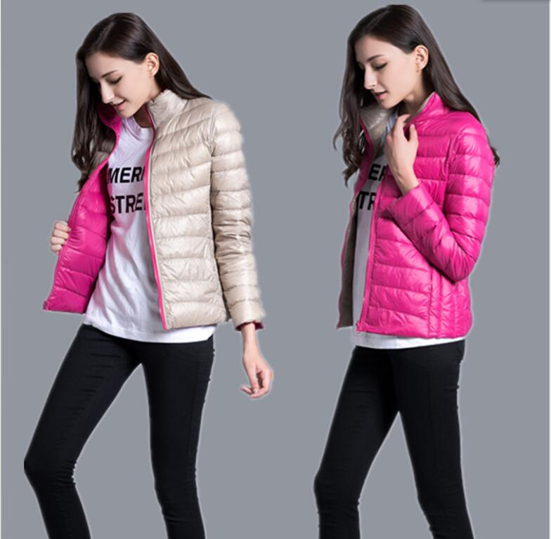 2016 Winter Women Down Jacket Ultralight White Duck Down Coat Two Side Wear Outerwear Pluse Size Parka Jaqueta Feminina(China (Mainland))