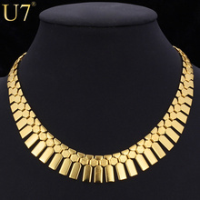 African Jewelry Bib Necklace Women Platinum/18K Real Gold Plated Wholesale Tassels Choker Necklace Statement Necklace U7 N348(China (Mainland))
