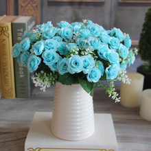 Pretty Charming Wedding Decoration 15 Buds 1 Bouquet Mini Rose Artificial Silk Flower Bride Bridal Home Decal Free Shipping(China (Mainland))
