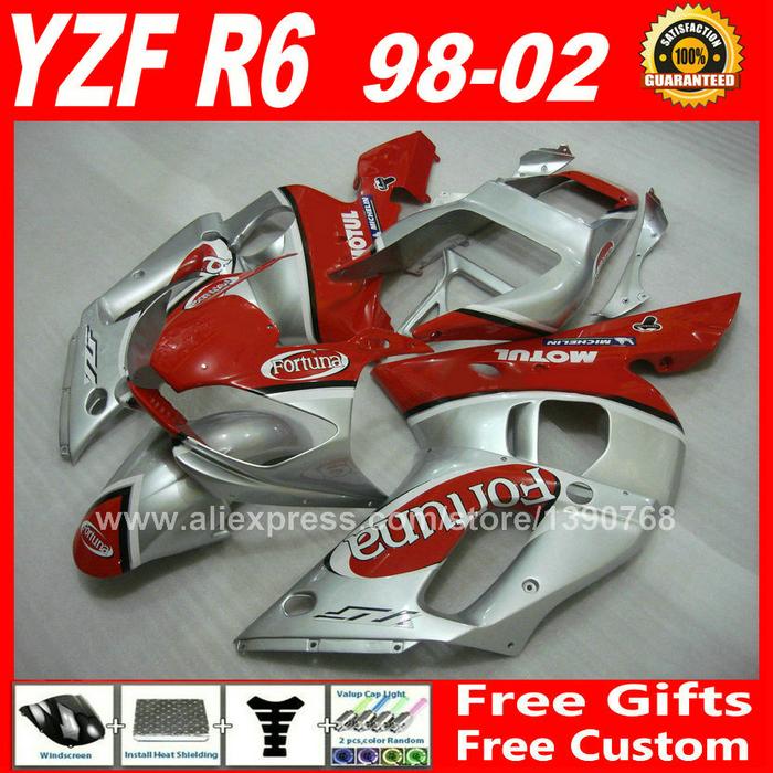 Fortuna style Fairings kit for 1998 - 2002 YAMAHA YZF R6 plastic parts 1999 2000 2001 98 99 00 01 02 fairing kits Z3Z9(China (Mainland))