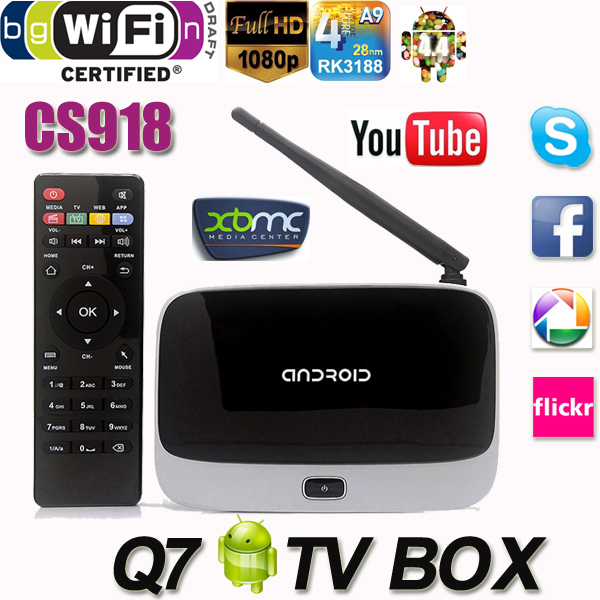 Q7 Android 4.4 TV Box CS918 Full HD 1080P RK3188T Quad Core Media Player 1GB/8GB XBMC KODI Wifi better than MXQ M8 MX MS TV Box(China (Mainland))