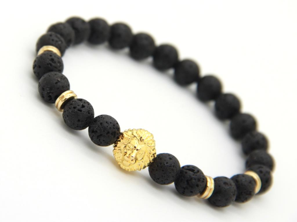 2015 New Design High Quality Gold Color Lion Head Bracelets Made by 8mm Round Black Lava Energy Stone Beads for Men's Gift(China (Mainland))