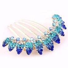 Beauty Fashion Lady Girl Leaf Pattern Alloy Rhinestone Barrette Hair Clip Comb--Blue - HSL Jewelry Store store