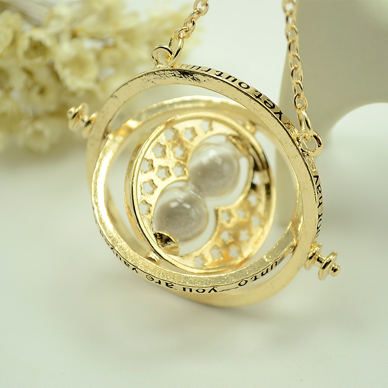 Harry Rotatable Hourglass Necklaces Pendants Potter Hermione Granger Rotating Spins Necklace Time Turner Long Necklace Jewelry(China (Mainland))