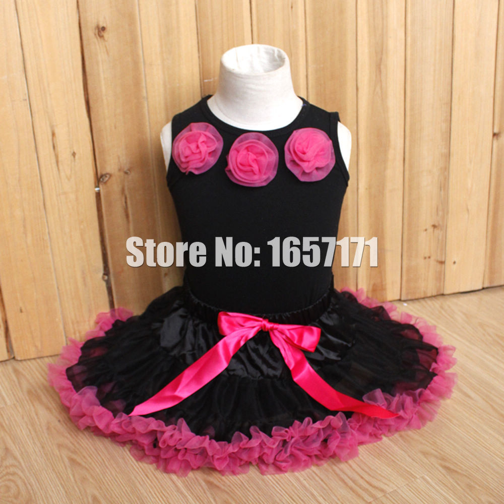 2PCS Gorgeous Baby Toddler Girls Rose Black Top Shirt+Hot Pink Bowknot Skirt Ruffles Tutu Dress Outfits 1-4Y(China (Mainland))