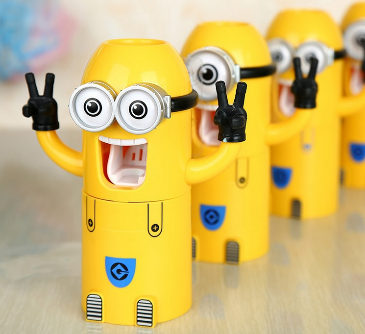 2015 New Minions Style Toothbrush Holder Automatic Toothpaste Dispenser Squeezer Cup Bathroom Household 3 in 1 Gift for children(China (Mainland))