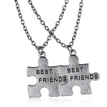 A Pair Best Friends Geometric Puzzle Heart Necklace pendant Clavicle Chain Necklace 2 piece broken necklace for women jewelry(China (Mainland))