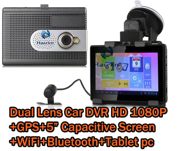"""5"""" Capacitive screen Full HD 1080P Android 4.0 Dual Lens Car Camera DVR Tablet pad With GPS Navigation Wifi FM HDMI(China (Mainland))"""