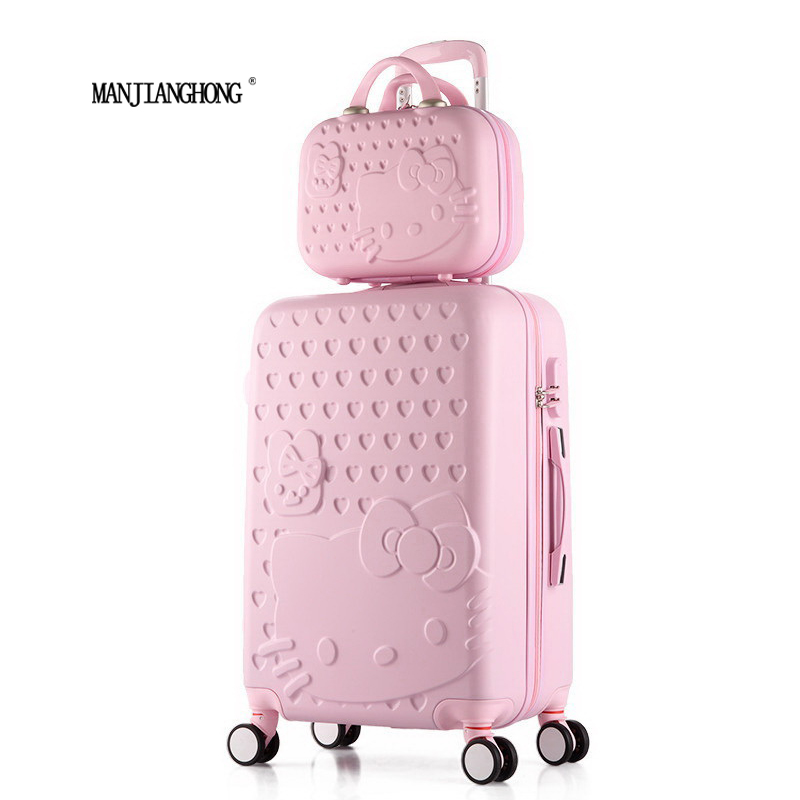 2 pcs/Set Beautiful 14-inch hello Kitty cosmetic bag 20 24 28inch students Travel luggage trolley case a woman rolling suitcase(China (Mainland))