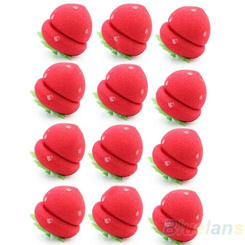 12pcs Strawberry Balls Hair Care Soft    Rollers Styling Curlers Lovely DIY Tools 02RU