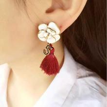 Vintage luxury oil drip flower long drop earrings for women girls,Fashion gold plated 5 asymmetric tassels dangle earrings,E233(China (Mainland))
