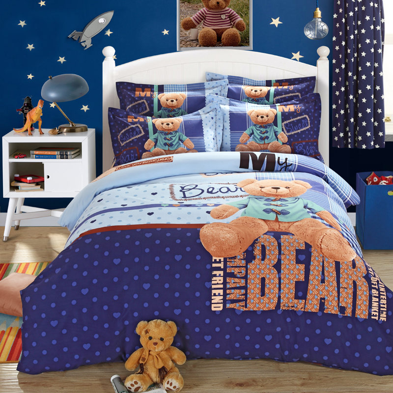 teddy bear bed sheets bedding set king queen size double. Black Bedroom Furniture Sets. Home Design Ideas