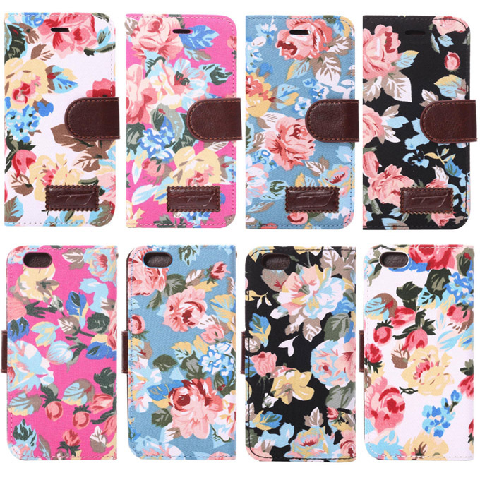 Fashion style Flower chiffon skin Protective Case iphone 6 case 4.7 Wallet Cover card holders+Bill site Cases Accessories - Yudi-best store
