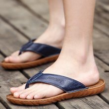 Male slippers summer flip flops men slip leather sandals and slippers Korean fashion casual sandals tendon