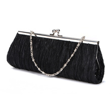 2014 HOT Women Satin Pleated Wedding Bridal Evening Party Club Clutch Purse Bag Handbag Free Shipping(China (Mainland))