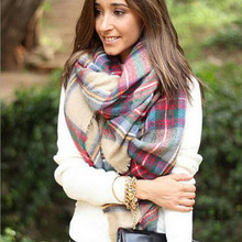 Scarf Wrap Shawl Plaid Cozy Checked Women Lady Blanket Oversized Tartan