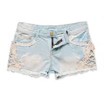 Low Waist Lace Cut-Off Denim Short Pant