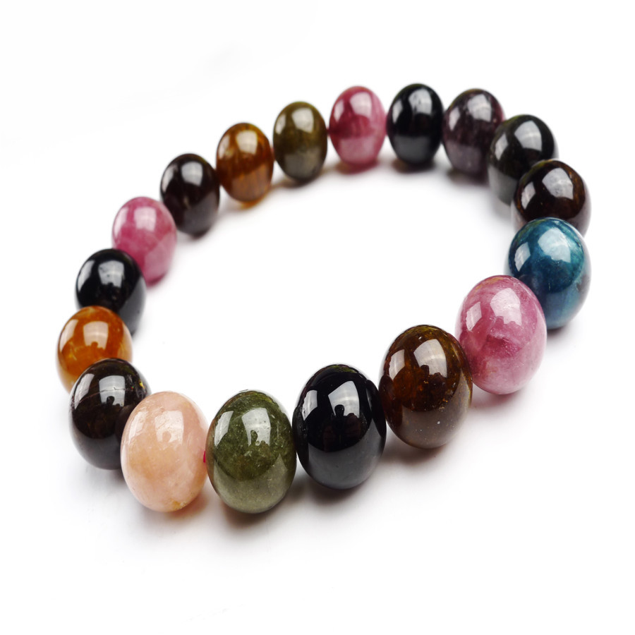 Здесь можно купить  BX13021 Natural Crystal Stone Bracelet For Women New Fashion Tourmaline Brazilian Round Beads Strand Bracelets 12mm  Ювелирные изделия и часы
